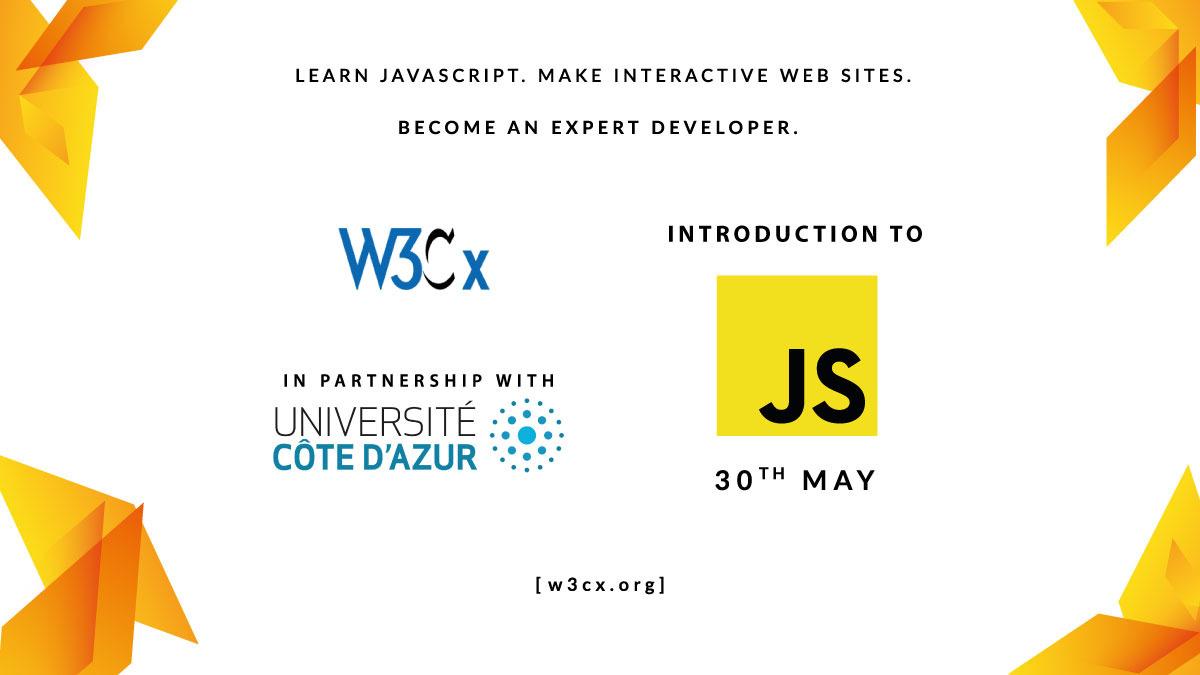 Annonce du cours JavaScript Intro de W3Cx