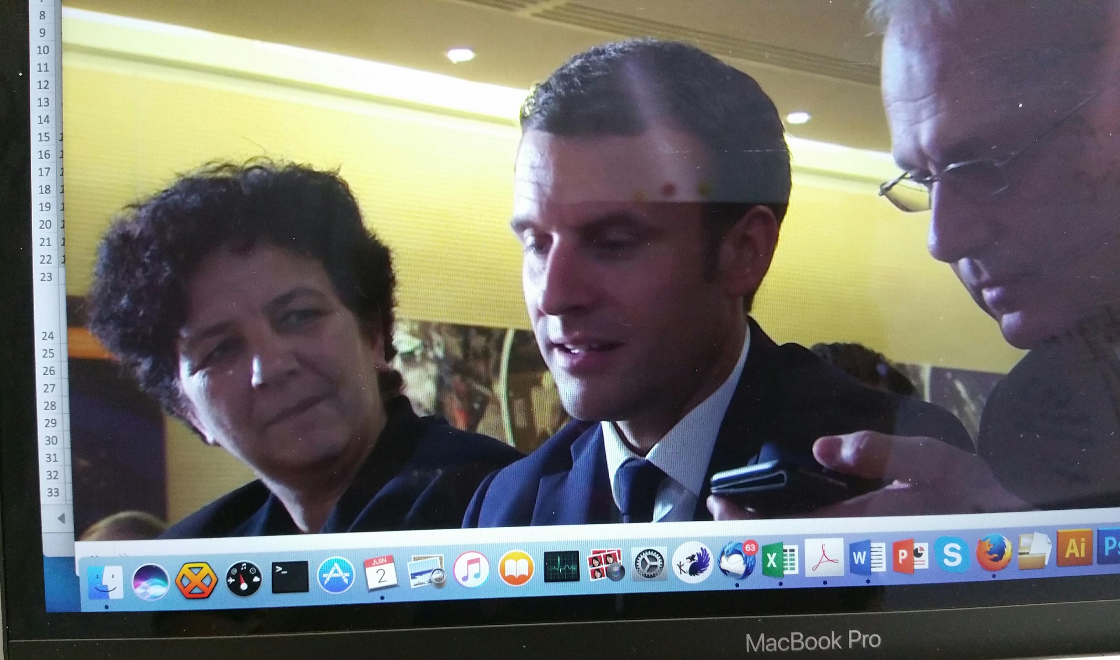 Le president E. Macron et F. Vidale ministre de l'enseignement supérieur, de la recherche et de l'innovation