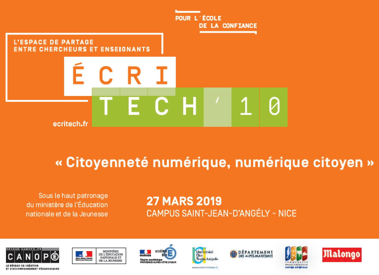 Carton d'invitation à EcriTech'10, le 27 mars 2019